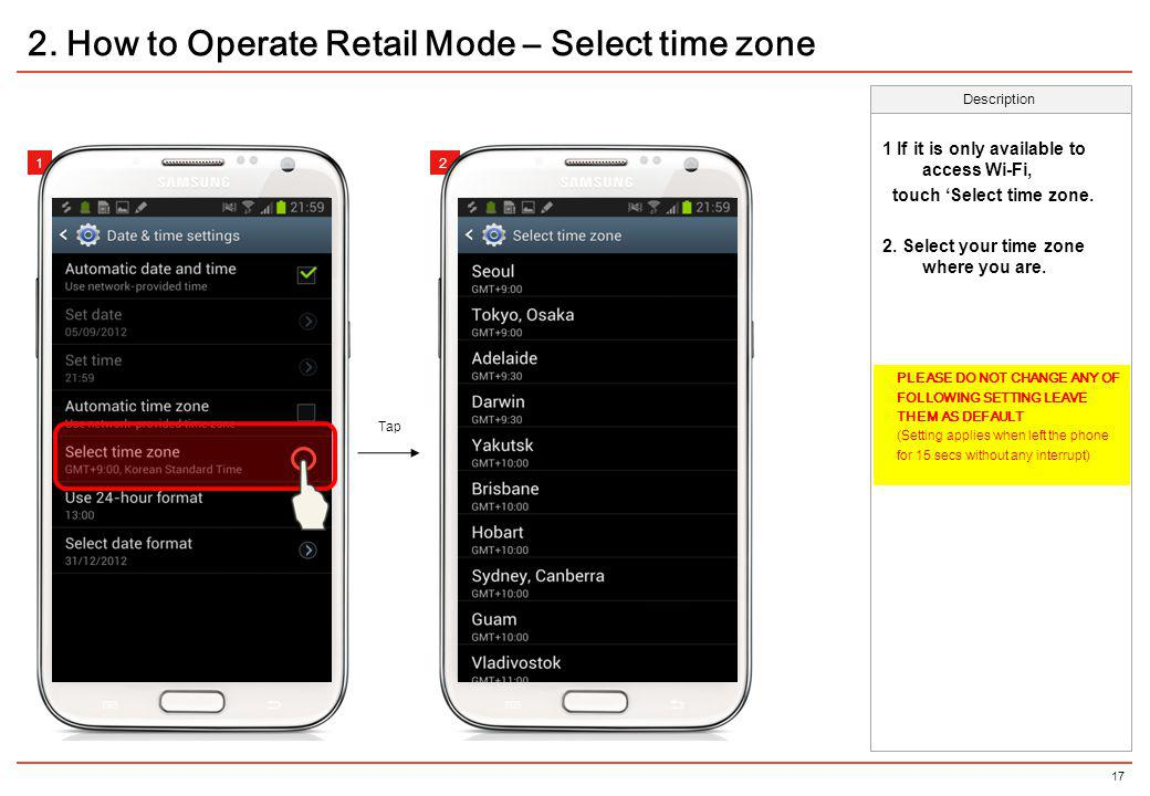 2. How to Operate Retail Mode – Select time zone