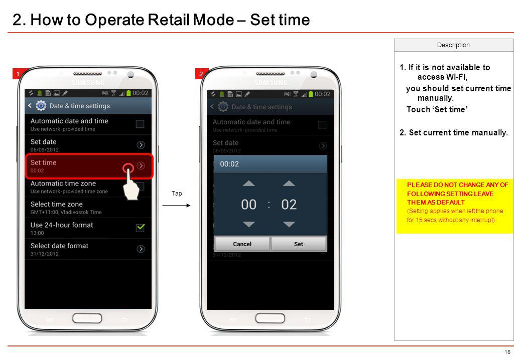 2. How to Operate Retail Mode – Set time
