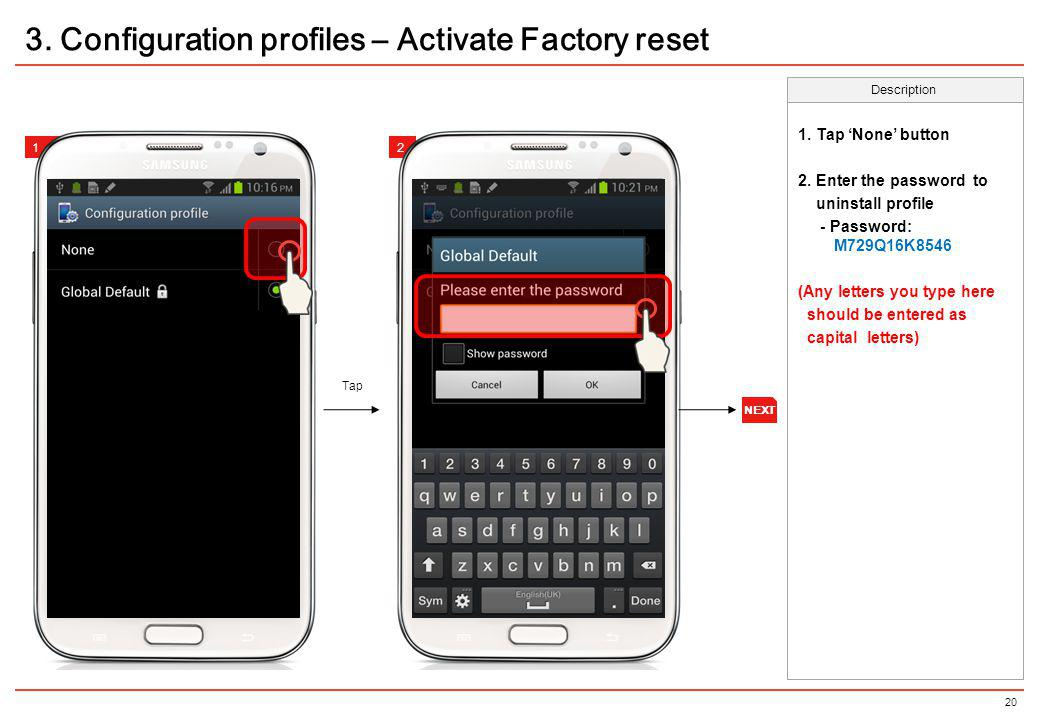 3. Configuration profiles – Activate Factory reset