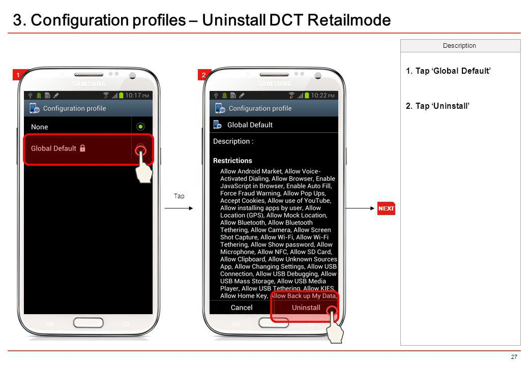 3. Configuration profiles – Uninstall DCT Retailmode