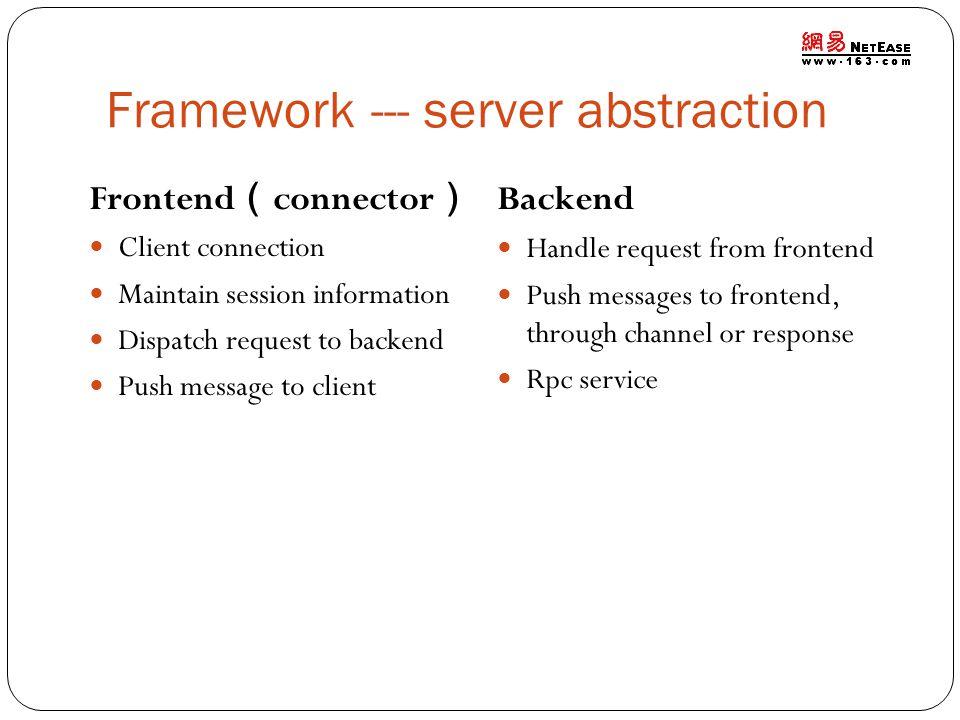 Framework --- server abstraction