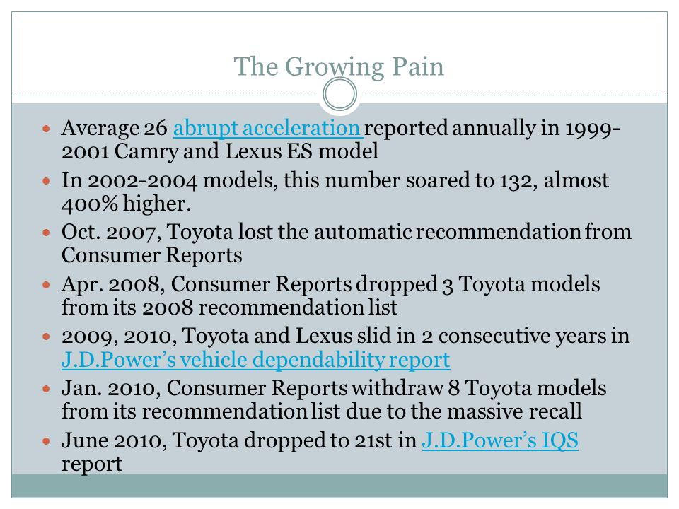 The Growing Pain Average 26 abrupt acceleration reported annually in 1999-2001 Camry and Lexus ES model.