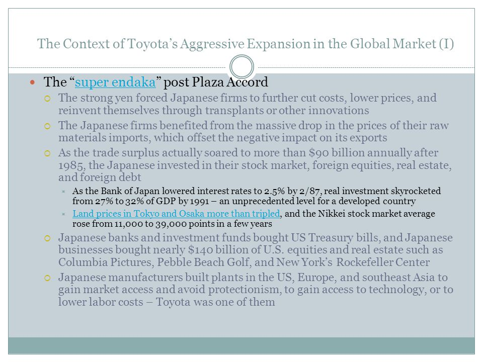 The Context of Toyota's Aggressive Expansion in the Global Market (I)