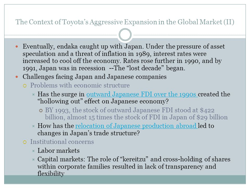 The Context of Toyota's Aggressive Expansion in the Global Market (II)