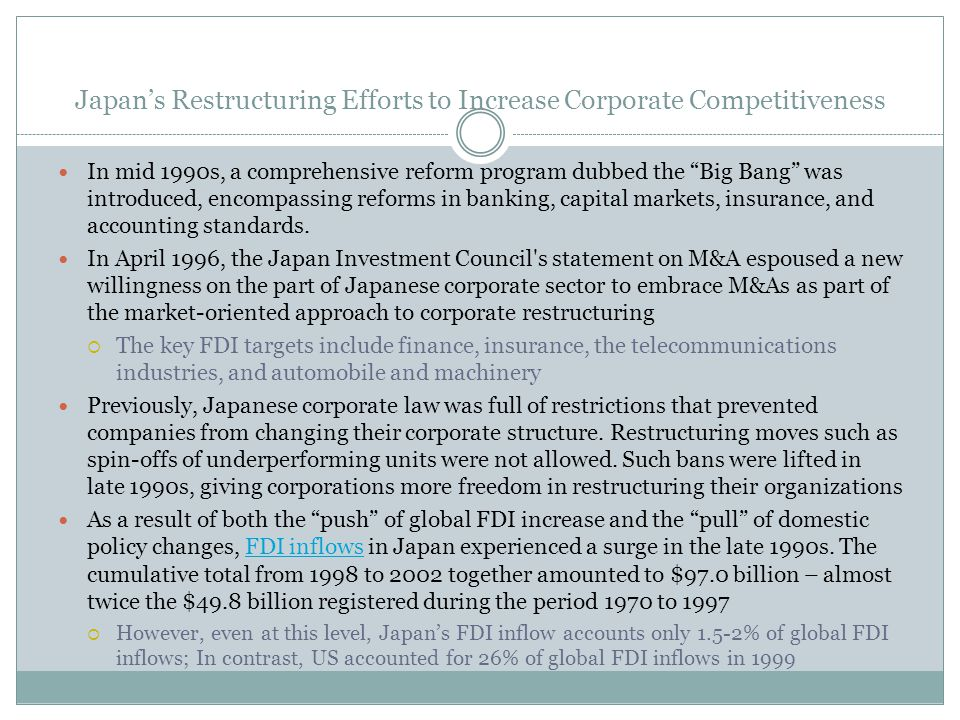 Japan's Restructuring Efforts to Increase Corporate Competitiveness
