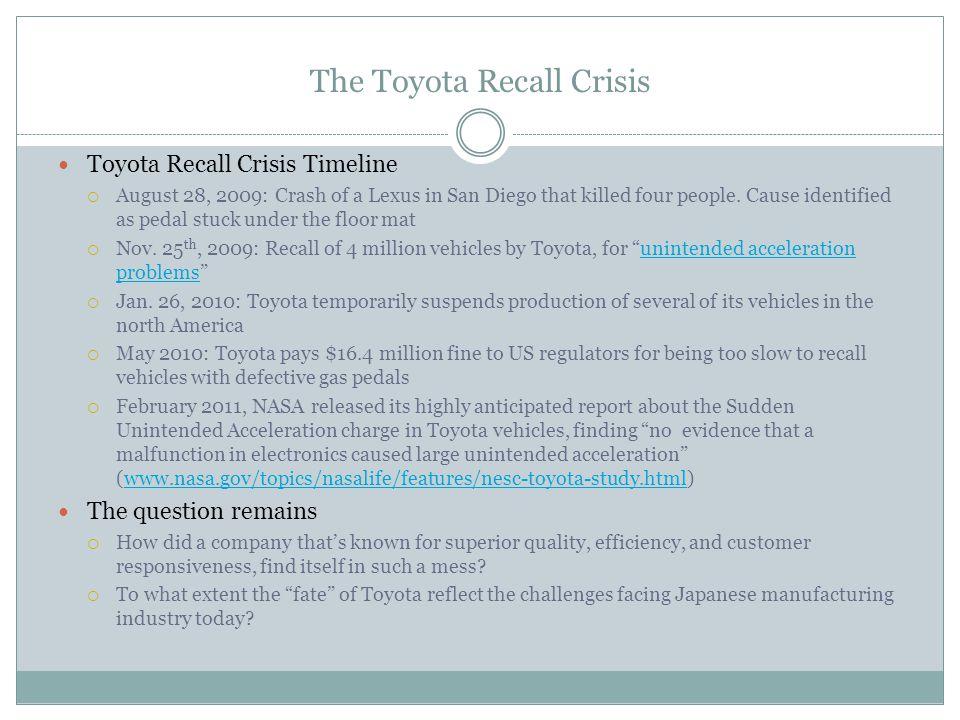 The Toyota Recall Crisis