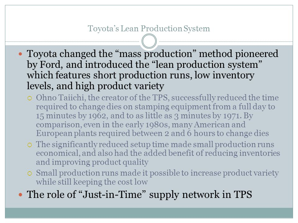 Toyota's Lean Production System