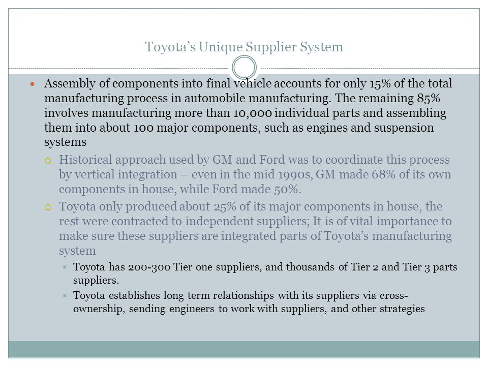 Toyota's Unique Supplier System