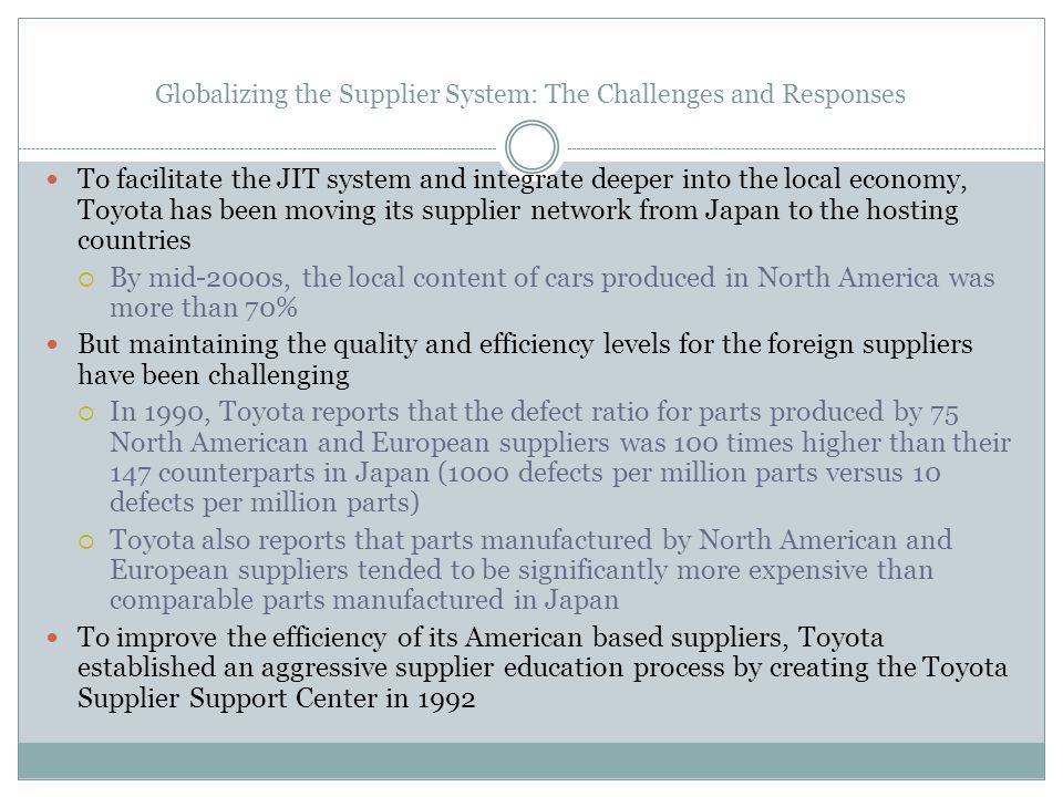 Globalizing the Supplier System: The Challenges and Responses