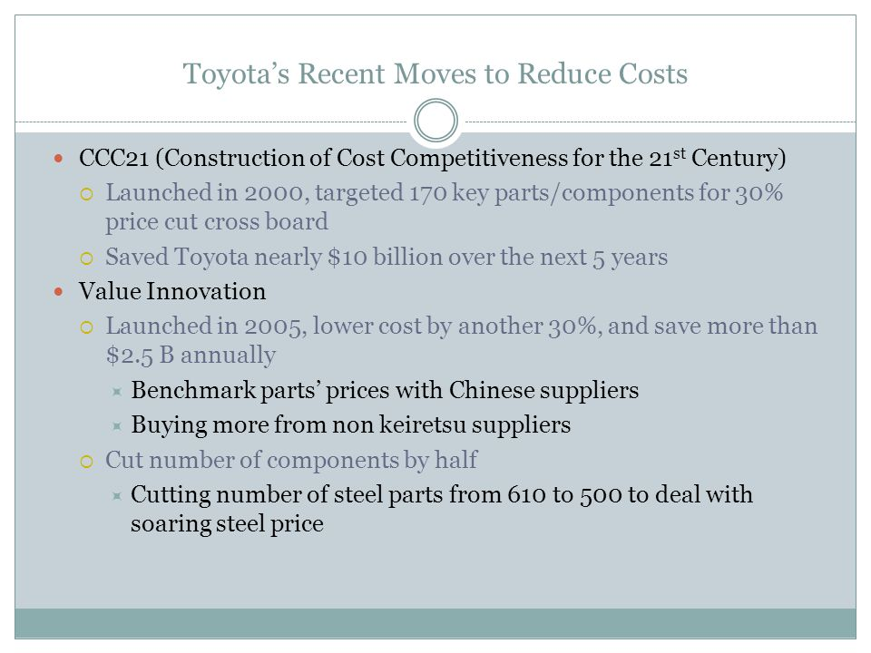 Toyota's Recent Moves to Reduce Costs