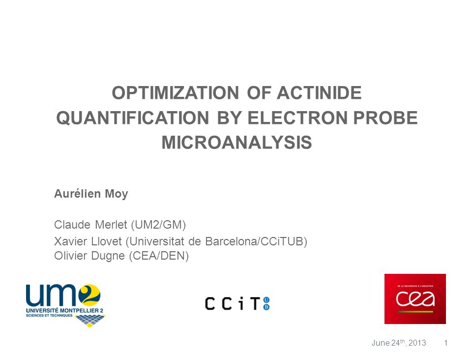Optimization of Actinide Quantification by Electron Probe Microanalysis