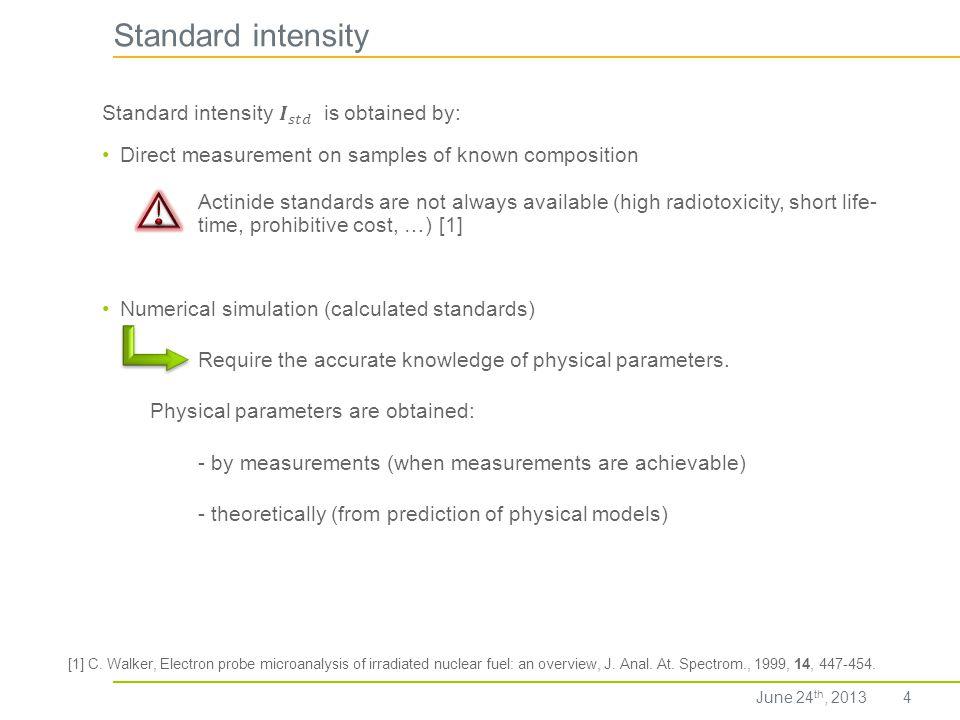 Standard intensity Standard intensity 𝑰 𝑠𝑡𝑑 is obtained by: