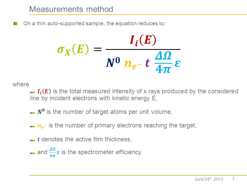 𝝈 𝑿 𝑬 = 𝑰 𝒊 𝑬 𝑵 𝟎 𝒏 𝒆 − 𝒕 𝜟𝜴 𝟒𝝅 𝜺 Measurements method where