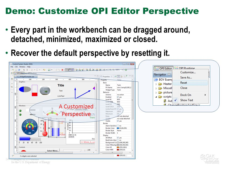Demo: Customize OPI Editor Perspective