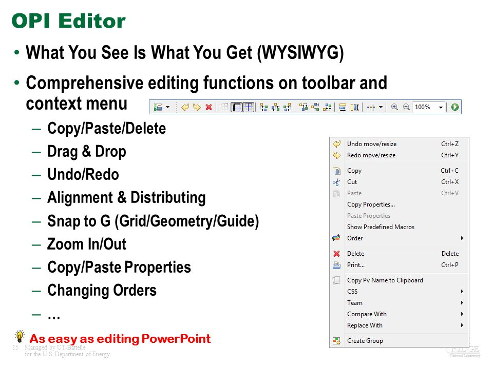 OPI Editor What You See Is What You Get (WYSIWYG)