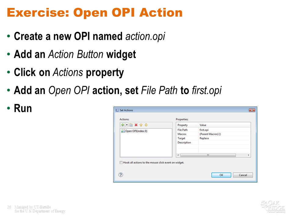 Exercise: Open OPI Action