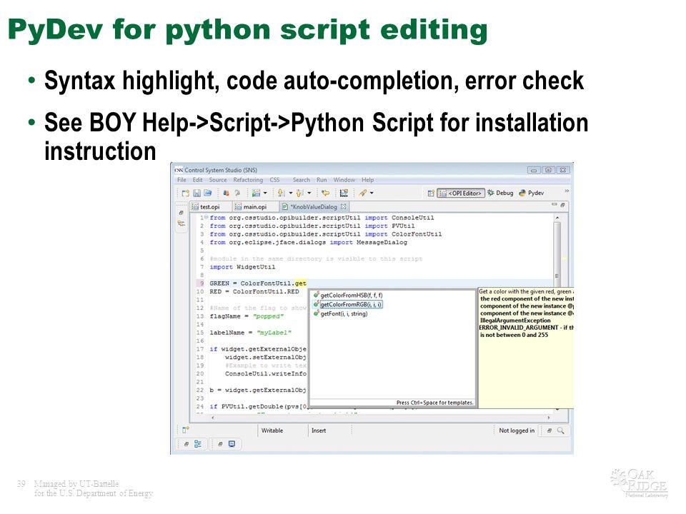 PyDev for python script editing