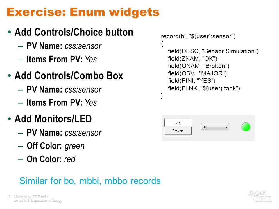 Exercise: Enum widgets