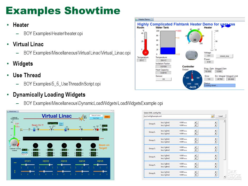 Examples Showtime Heater Virtual Linac Widgets Use Thread