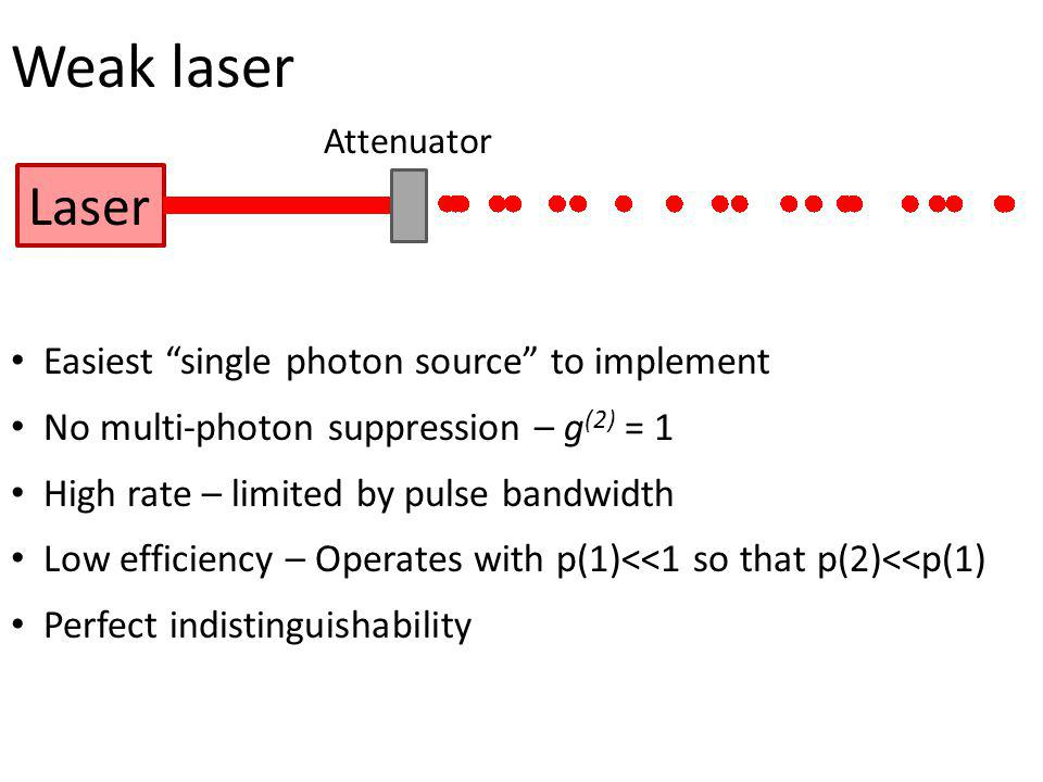Weak laser Laser Easiest single photon source to implement