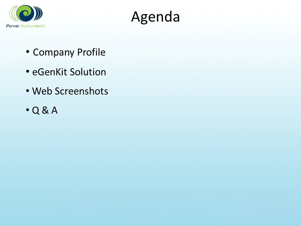 Agenda Company Profile eGenKit Solution Web Screenshots Q & A