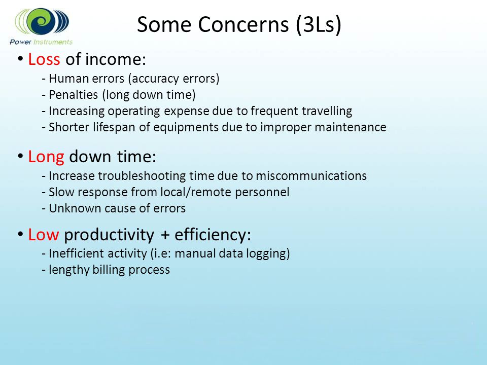 Some Concerns (3Ls) Loss of income: Long down time: