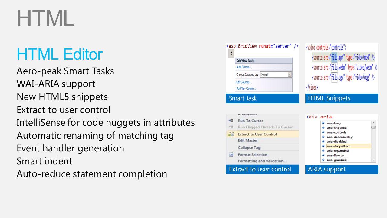 HTML HTML Editor Aero-peak Smart Tasks WAI-ARIA support