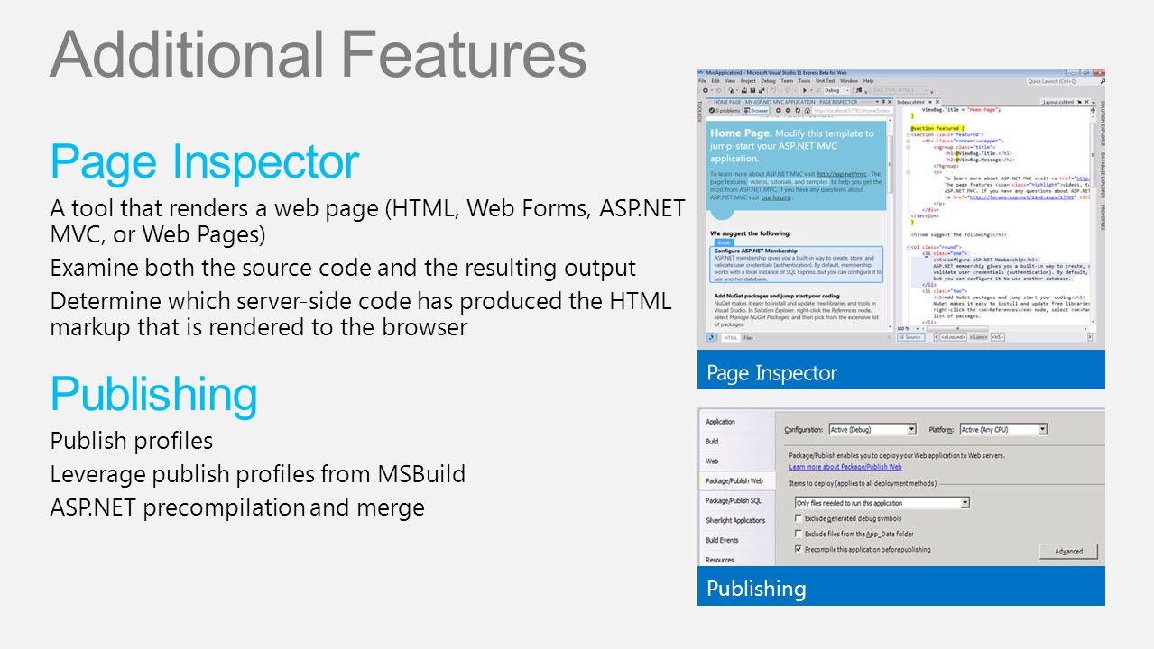 Additional Features Page Inspector Publishing