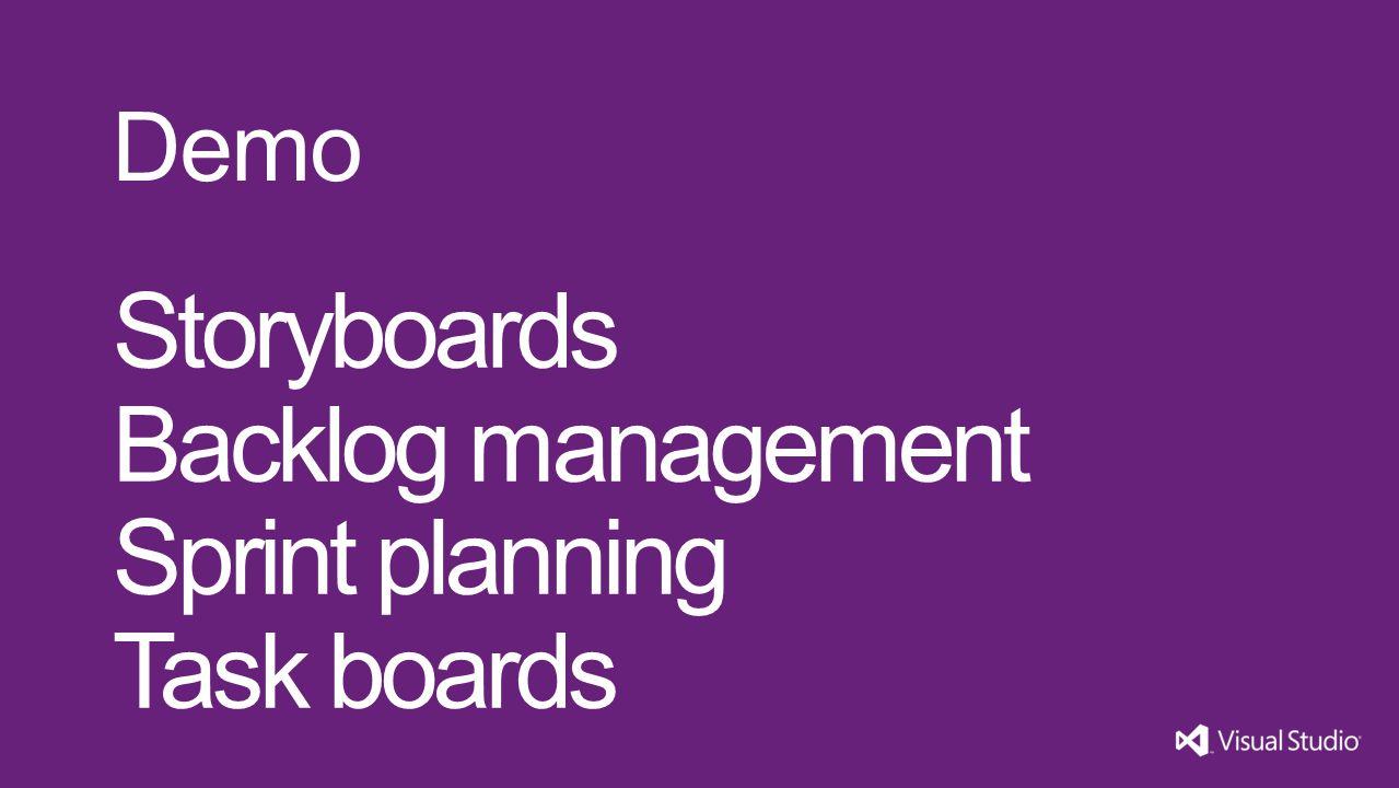 Storyboards Backlog management Sprint planning Task boards Demo