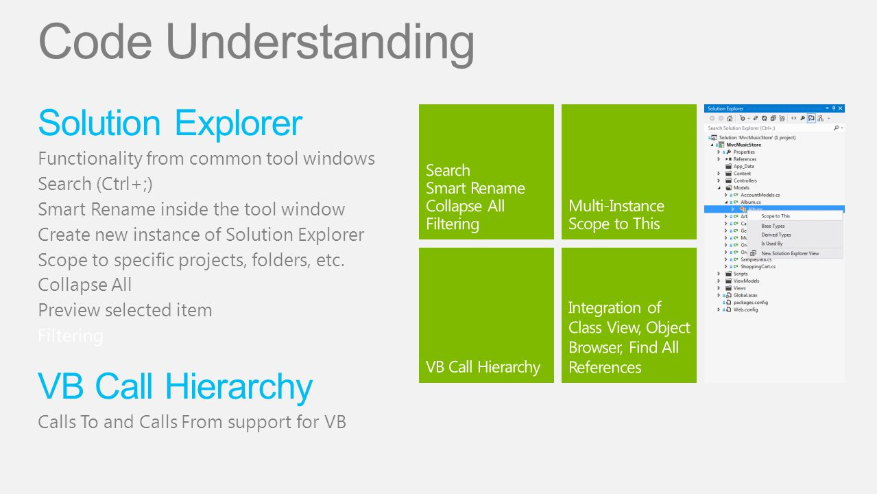 Code Understanding Solution Explorer VB Call Hierarchy