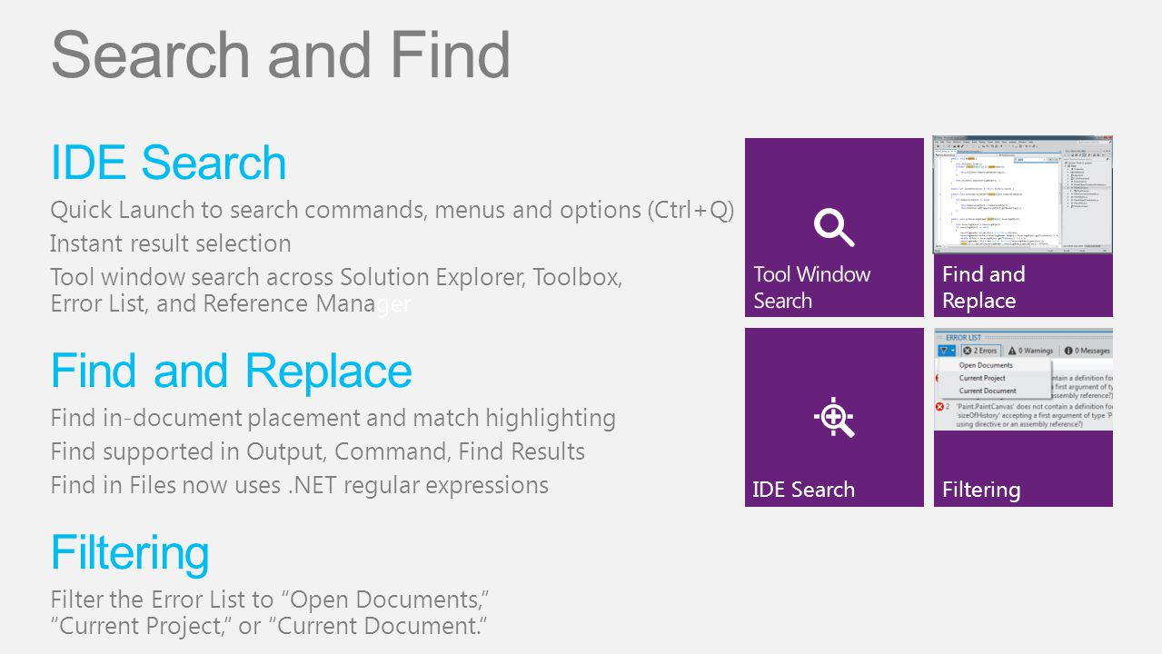Search and Find IDE Search Find and Replace Filtering