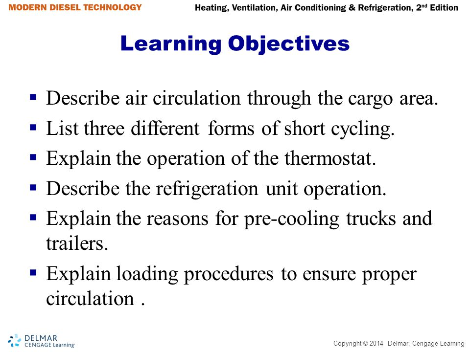 Learning Objectives Describe air circulation through the cargo area. List three different forms of short cycling.
