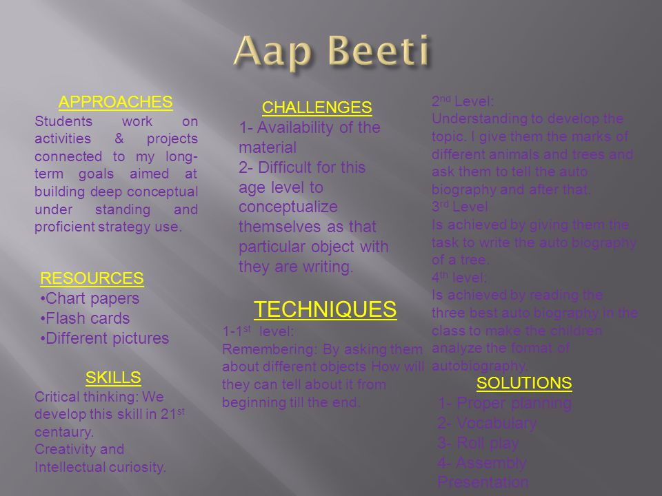 Aap Beeti TECHNIQUES APPROACHES CHALLENGES