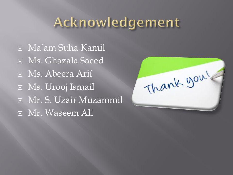 Acknowledgement Ma'am Suha Kamil Ms. Ghazala Saeed Ms. Abeera Arif