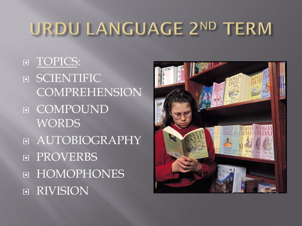 URDU LANGUAGE 2ND TERM TOPICS: SCIENTIFIC COMPREHENSION COMPOUND WORDS