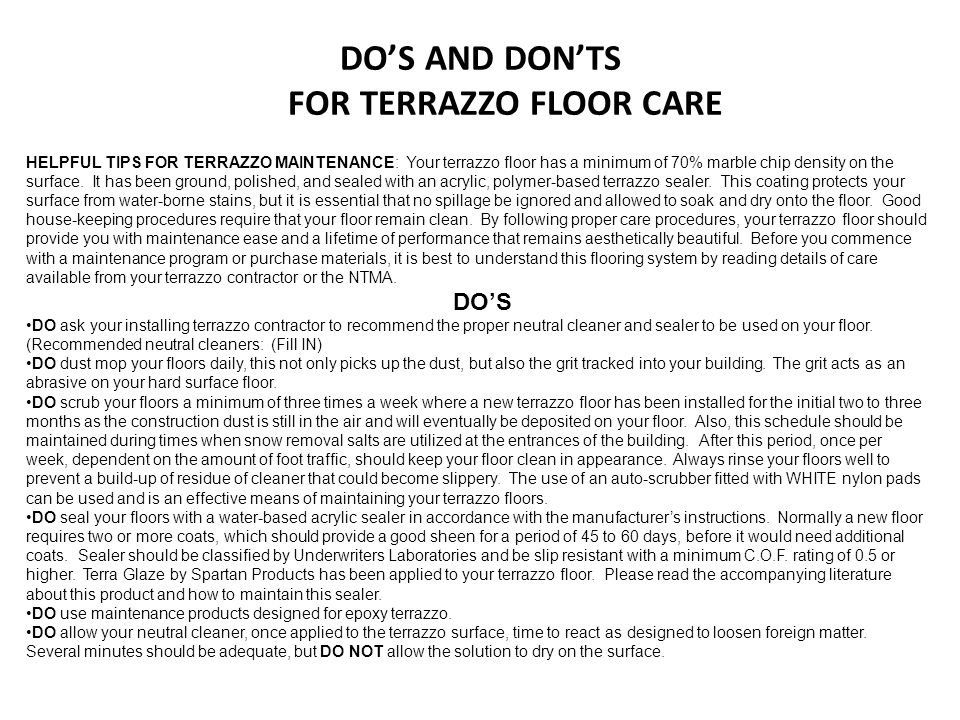 DO'S AND DON'TS FOR TERRAZZO FLOOR CARE