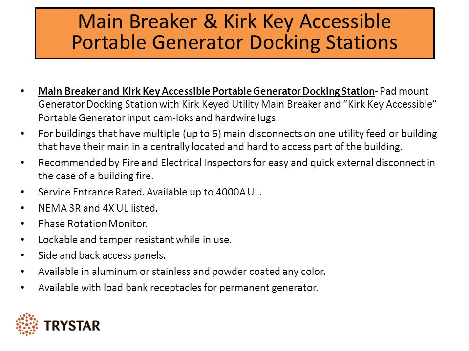 Main Breaker & Kirk Key Accessible Portable Generator Docking Stations