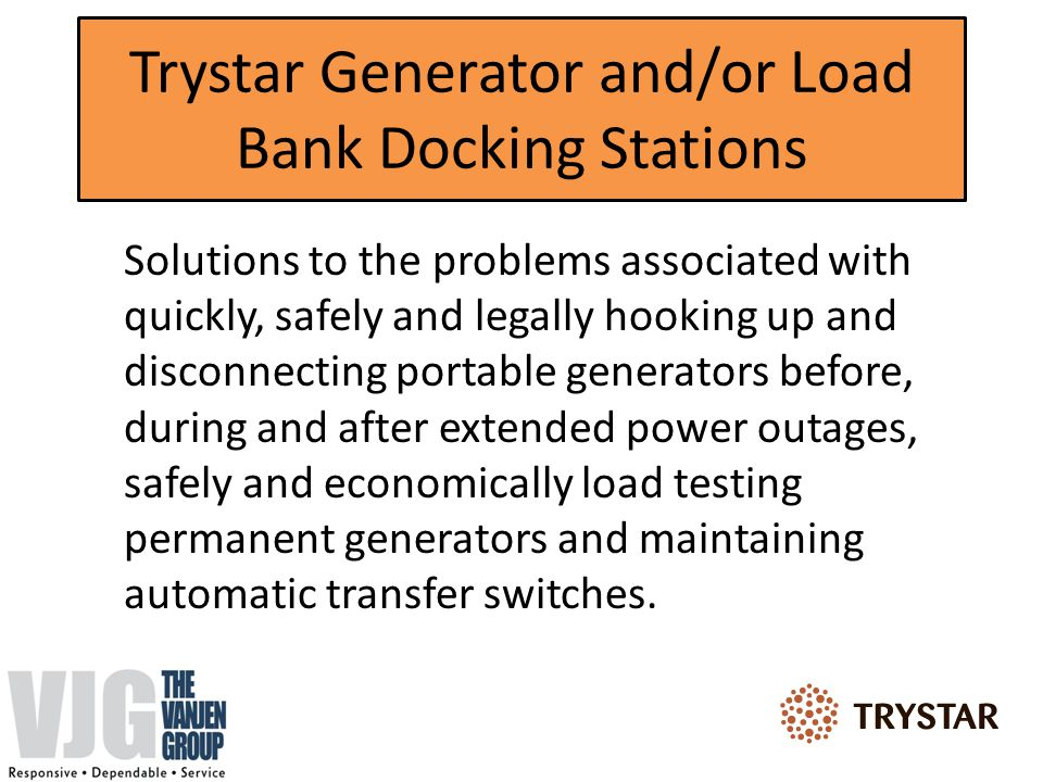 Trystar Generator and/or Load Bank Docking Stations