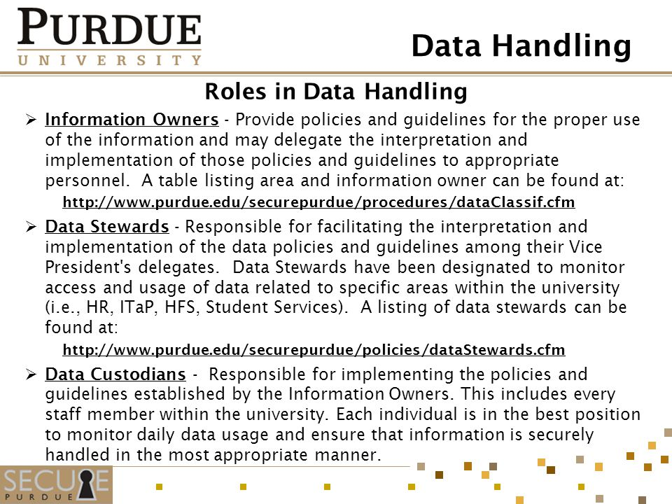 Data Handling Roles in Data Handling