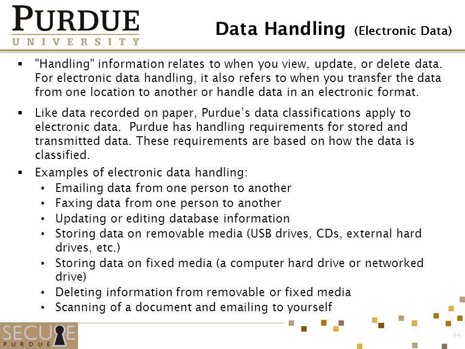 Data Handling (Electronic Data)