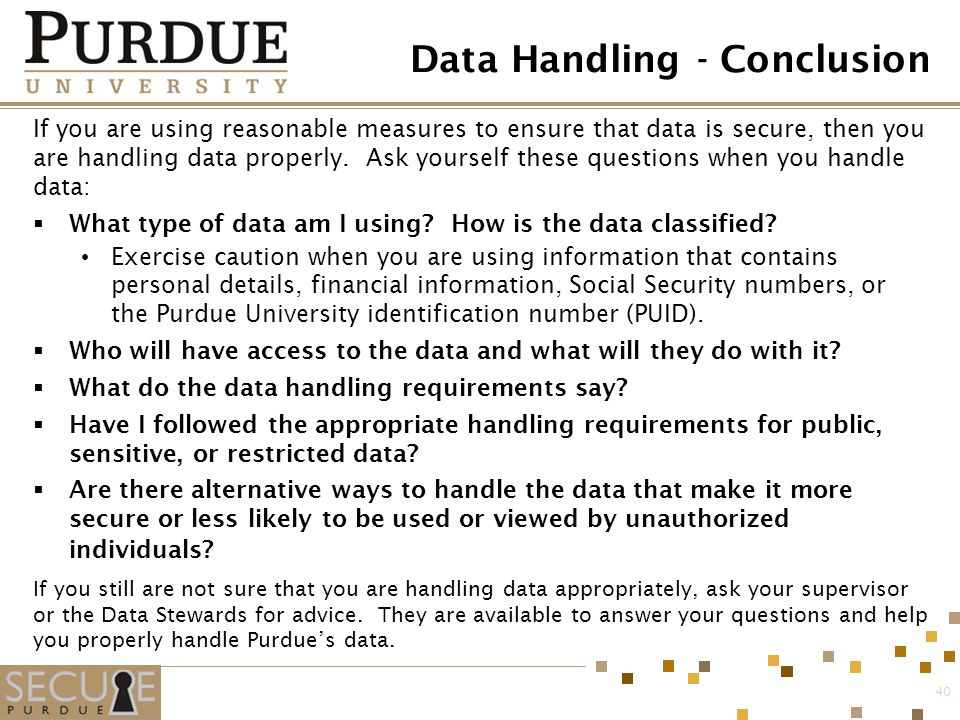 Data Handling - Conclusion