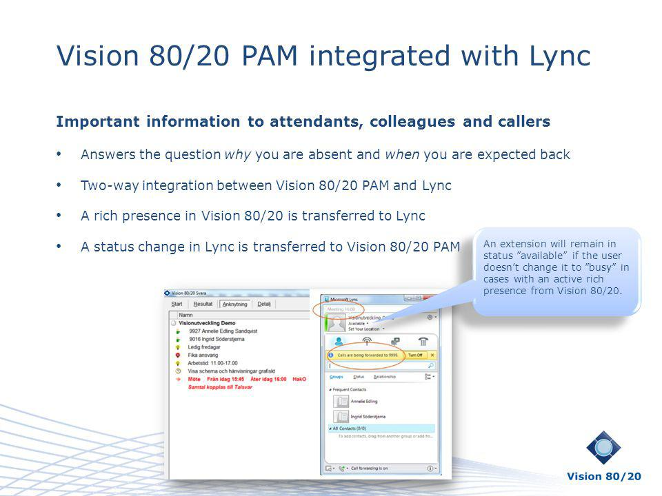 Vision 80/20 PAM integrated with Lync