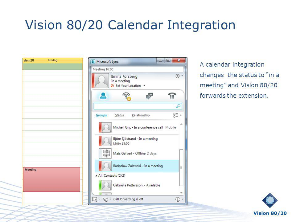 Vision 80/20 Calendar Integration