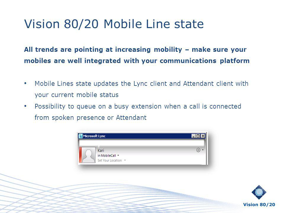 Vision 80/20 Mobile Line state