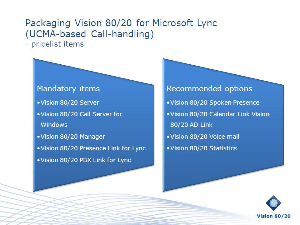 Packaging Vision 80/20 for Microsoft Lync (UCMA-based Call-handling)