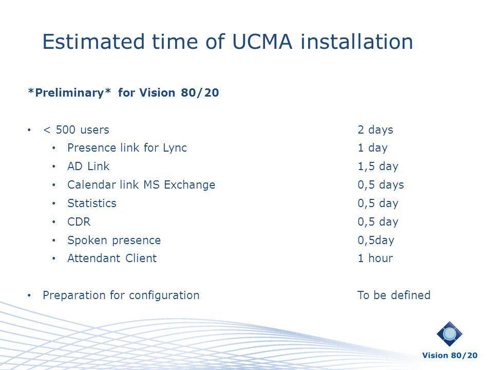 Estimated time of UCMA installation