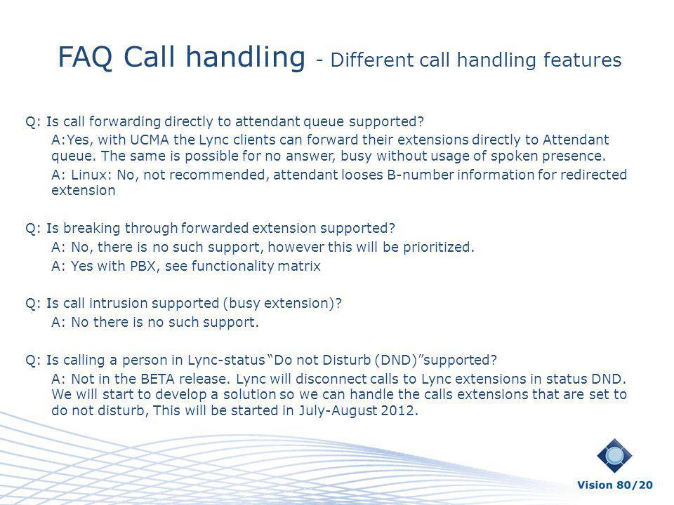 FAQ Call handling - Different call handling features