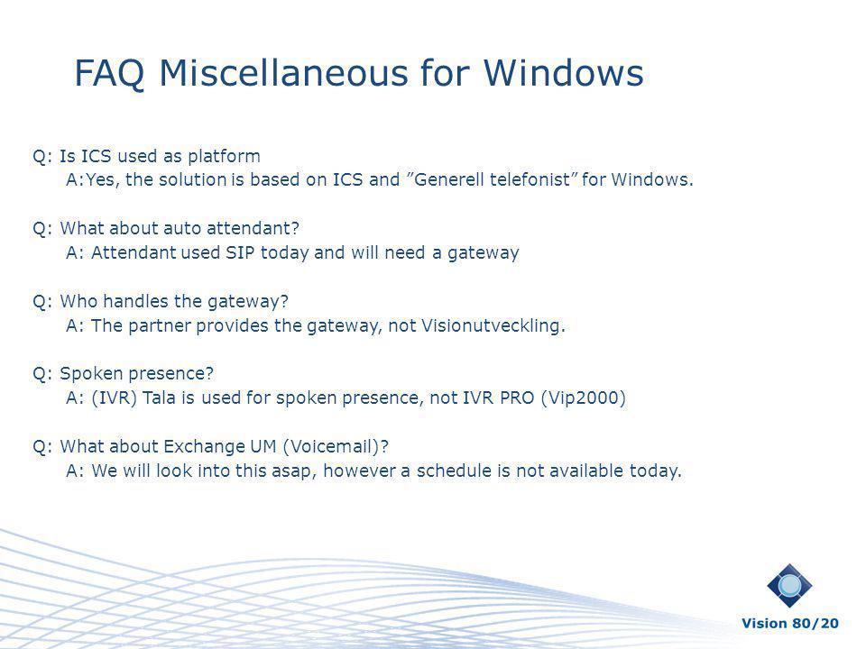 FAQ Miscellaneous for Windows