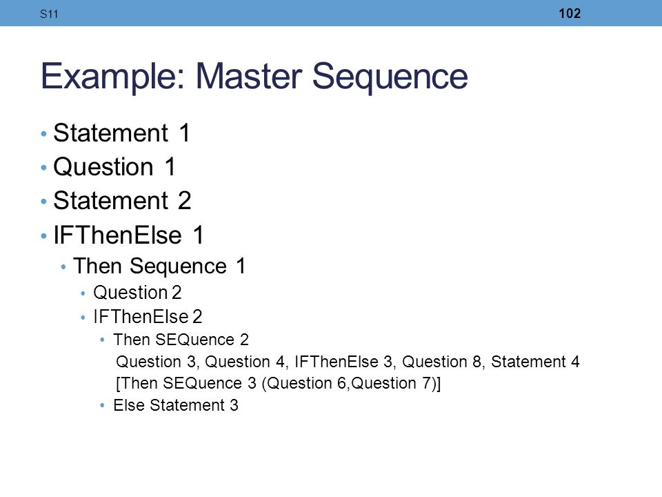 Example: Master Sequence