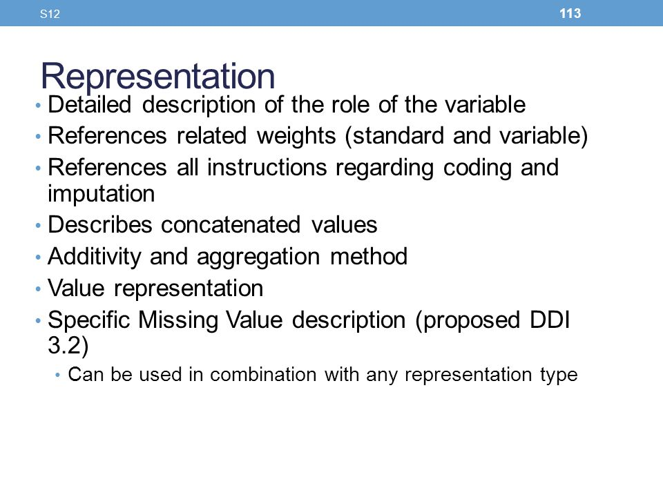 Representation Detailed description of the role of the variable
